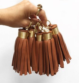 Large Cork Leather Tassel Keychain