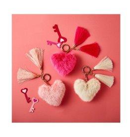 two's company heart faux fur keychain