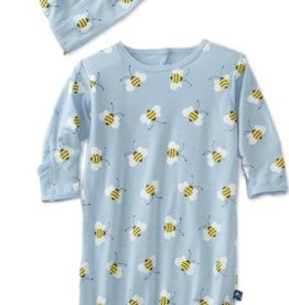 kickee pants pond bees print layette gown and double knot hat set