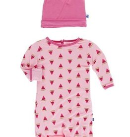 kickee pants lotus watermelon layette gown and double knot hat set