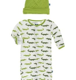 kickee pants natural crocodile print layette gown converter and knot hat set