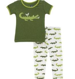 kickee pants natural crocodile short sleeve pajama set
