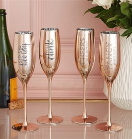 two's company set of 2 metallic glass champagne flutes