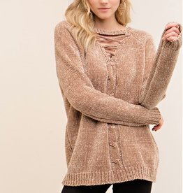 entro lace up sweater
