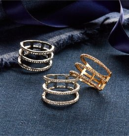 two's company 3 row pave ring
