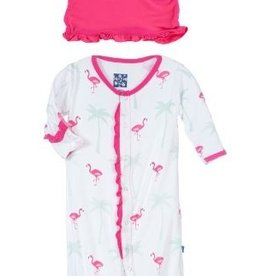 kickee pants natural flamingo print ruffle layette gown converter and knot hat set