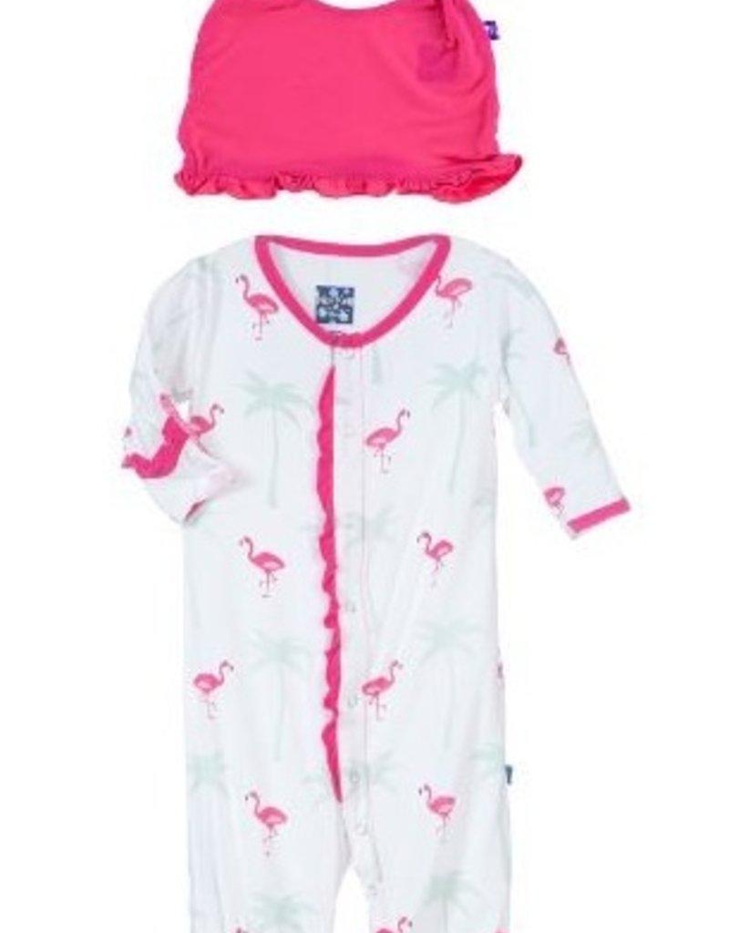 kickee pants natural flamingo print ruffle layette gown converter ...