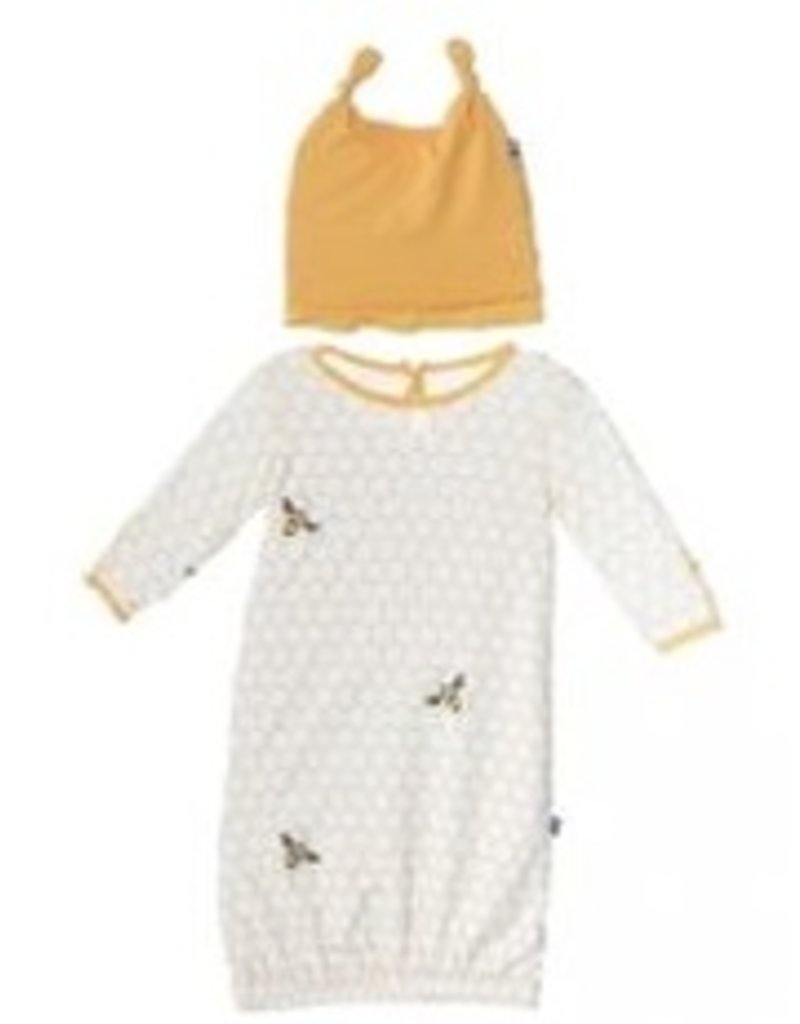 kickee pants natural honeycomb print layette gown and ruffle knot ...