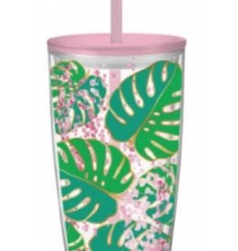 slant 22oz dwt Monsterra Leaves Travel Tumbler FINAL SALE