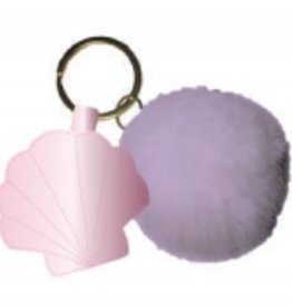 slant clam shell keychain with pom pom