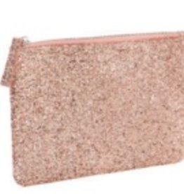 slant light pink glitter cosmetic bag