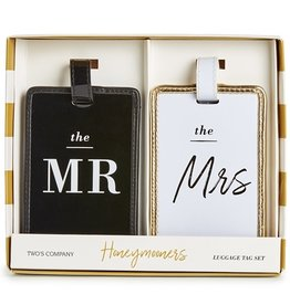 two's company mr & mrs luggage tag set in gift box