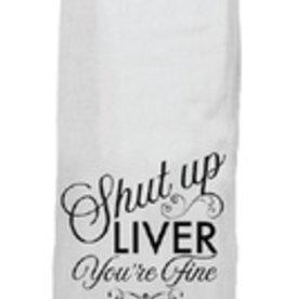twisted wares shut up liver tea towel