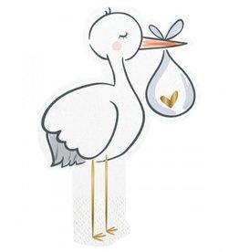 slant stork diecut foil beverage napkins 20ct