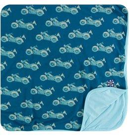 kickee pants heritage blue motorcycle print toddler blanket