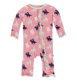 kickee pants strawberry cowgirl print muffin ruffle coverall with snaps