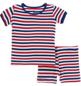 kickee pants usa stripe print short sleeve pajama set with shorts