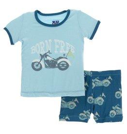 kickee pants heritage blue motorcycle print short sleeve pajama set with shorts
