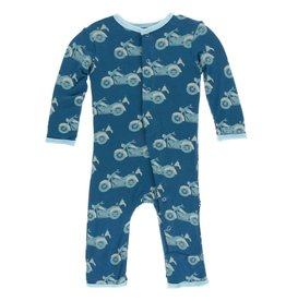 kickee pants heritage blue motorcycle print coverall with snaps