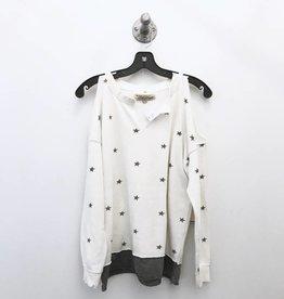 vintage havana allover star print cold shoulder sweatshirt