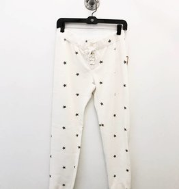 vintage havana allover star print lace up burnout sweatpants