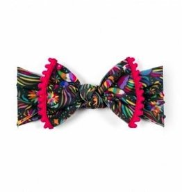 Baby Bling trimmed printed knot: cinco bird + hot pink pom