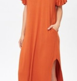 rust jersey frilly maxi dress