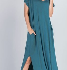 teal stretch jersey maxi