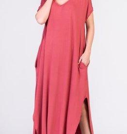 dusty rose jersey stretch maxi dress