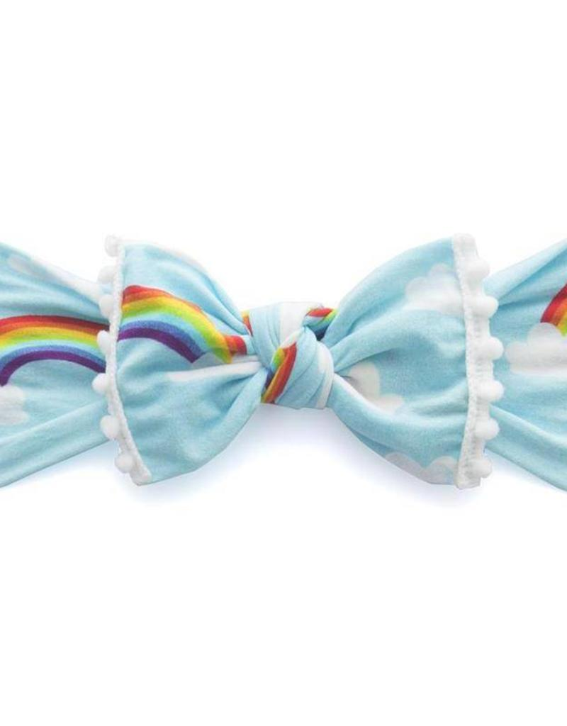 Baby Bling trimmed printer knot headband: rainbow + white pom