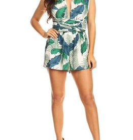 tropical print convertible romper