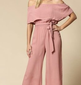 rose off shoulder jumpsuit