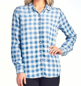 gingham checkered button down top