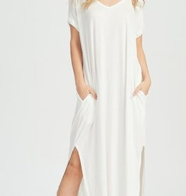 ivory jersey stretch maxi dress