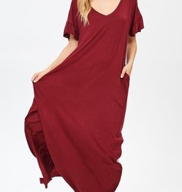 burgundy jersey frilly maxi dress