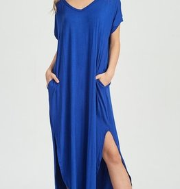 royal blue jersey stretch maxi dress