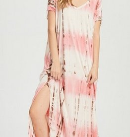 coral tie dyed jersey stretch maxi dress