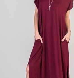 burgundy jersey stretch maxi dress