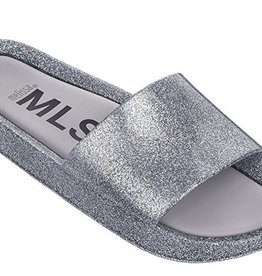 mini melissa silver glitter beach slide shine