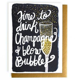 champagne & blow bubbles card