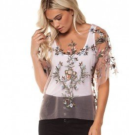 dex mesh embroidery top
