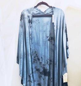 vintage havana denim/charcoal tie dye tassel kimono