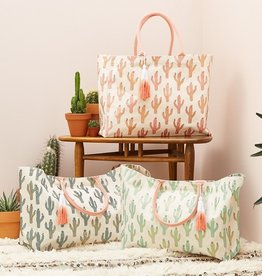 two's company lookin sharp - metallic cactus print tote
