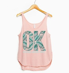 LivyLu peach ok palm side slit tank FINAL SALE