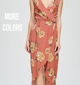 lena floral surplus maxi dress