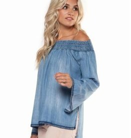 dex faded denim off the shoulder top