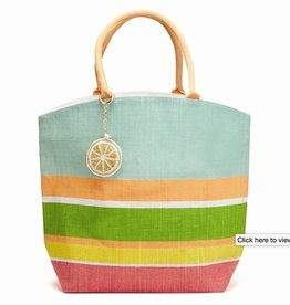 two's company stripe tote lemon w/ key ring