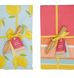 two's company dish towel w/ citrus reamer
