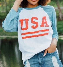friday + saturday usa raglan tee