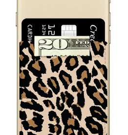 leopard faux leather phone pocket